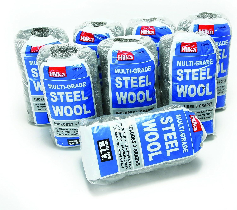 Hilka Multi Grade Steel Wool  3 grades 4 coarse 4 medium and 4 fine Pack of 4