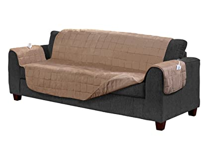 Serta Microsuede Diamond Quilted Electric Warming Furniture Sofa Protector,  Camel