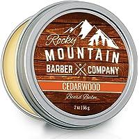 Beard Balm - Rocky Mountain Barber - Canadian Made 100% Natural - Premium Wax Blend with Cedarwood Scent, Nutrient Rich Bees Wax, Jojoba, Tea Tree, Coconut Oil