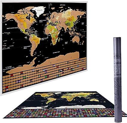 Póster de mapa del mundo para raspar, mapa internacional de para ...