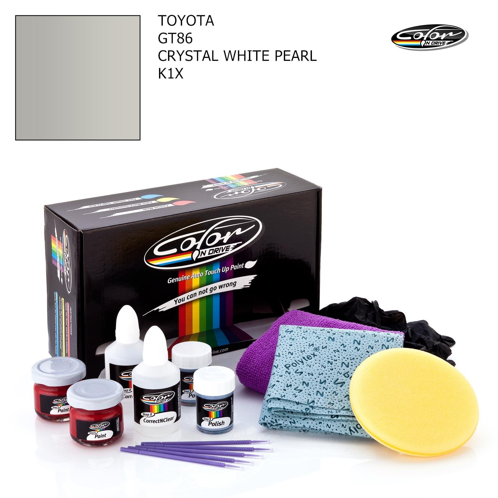 Toyota GT86 / Crystal White Pearl - K1X / Color N Drive Touch UP Paint System for Paint Chips and Scratches/Basic Pack