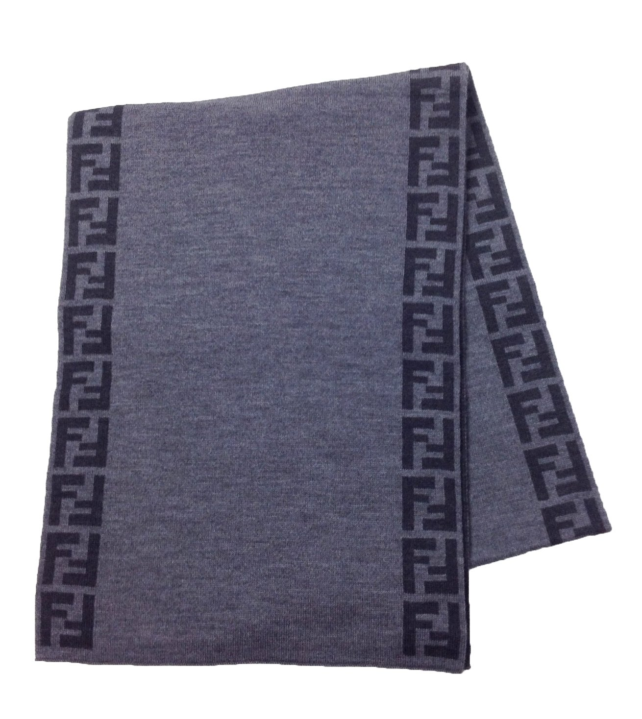 Fendi Knit Monogram Wool Scarf Zucca Stripe, Antracite Grey