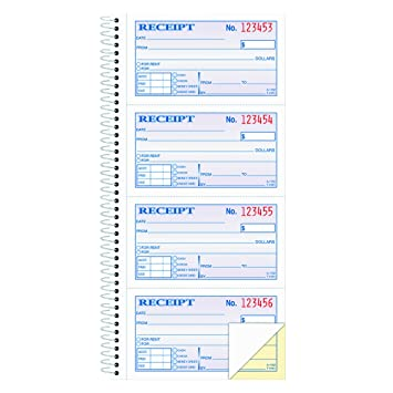 Adams Money And Rent Receipt Book, 2 Part Carbonless, 5 1/4  Home Rental Receipt