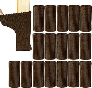 "UrsoKuz 24PCS Chair Socks High Elastic Furniture Socks Pads Anti-Slip Chair Leg Feet Socks Covers Furniture Caps Set, Fit Girth from 2.7"" to 7"", Brown"