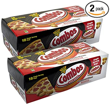 COMBOS Pepperoni Pizza Cracker Baked Snacks 1 7-Ounce Bag 18-Count Box  (Pack of 2)