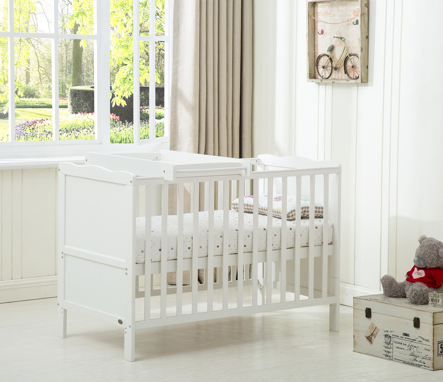 MCC Wooden Baby Cot Bed Orlando With Top Changer & Water repellent Mattress Mcc®