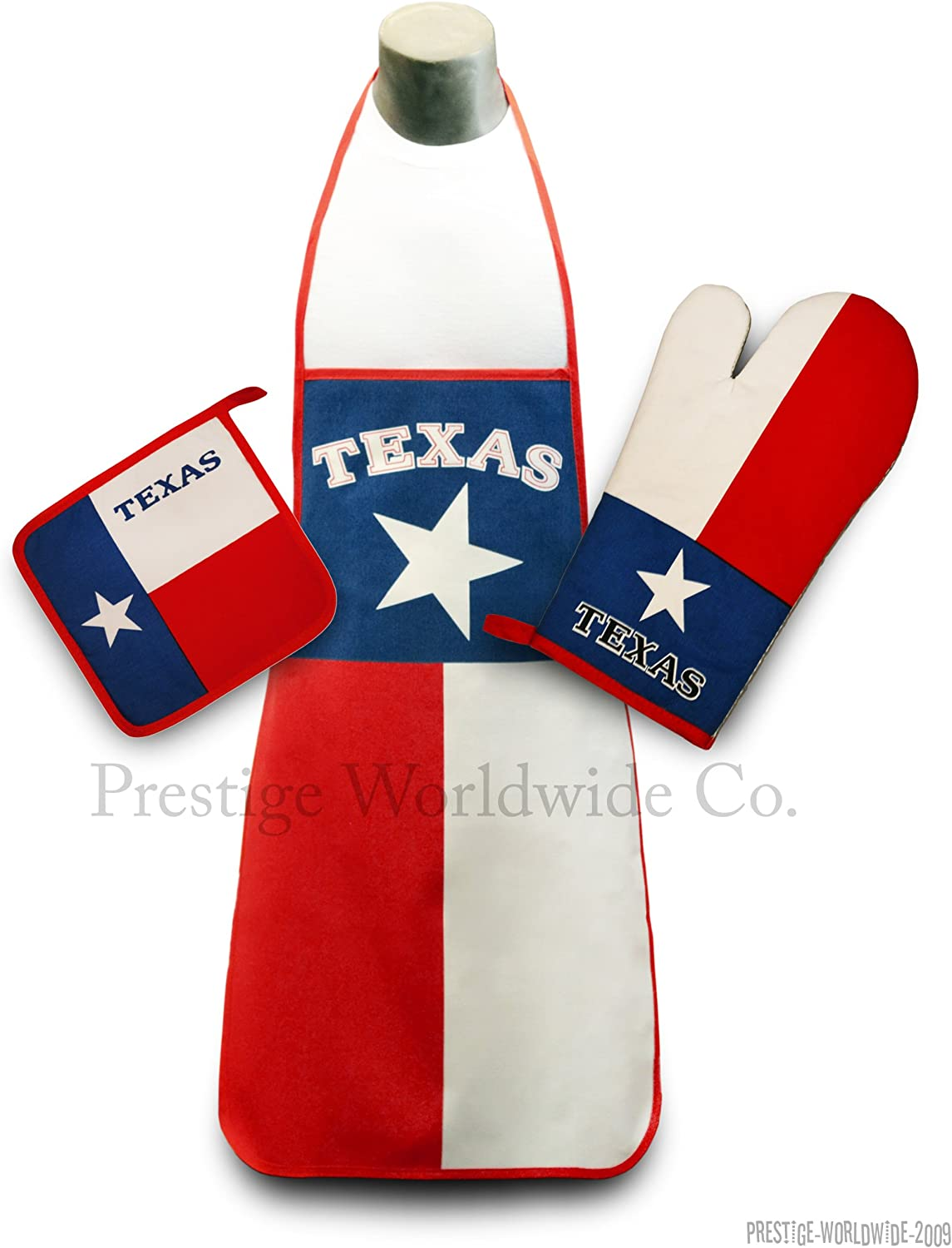 Texas State Flag Kitchen & BBQ Set *New* with Apron, Oven-mitt and Pot-holder Longhorns Texans