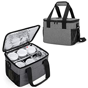 Trunab Reusable 6 Cups Drink Carrier for Delivery with Handle and Shoulder Strap, Insulated Drink Caddy Holder Bag with Removable Dividers for Take Out, Beverages Carrier Tote for Outdoors, Grey