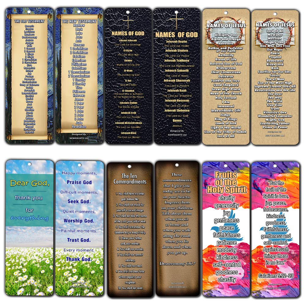 Christian Bookmarks - Books of The Bible Bookmarks Cards (30-Pack) - Ten Commandments - Names of God & Jesus - Fruits of The Spirit NewEights