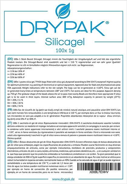 DRYPAK | 100 x 1 gramo/BOLSAS DESECANTES DE GEL DE SÍLICE/Deshumidificador, regenerable: Amazon.es: Alimentación y bebidas