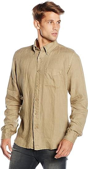 M C S Camisa Hombre Caqui L: Amazon.es: Ropa y accesorios