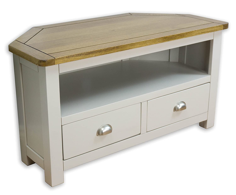 Wellington Painted Oak Grey Corner TV Unit / 2 Drawer Oak TV Stand - With Solid Oak Top