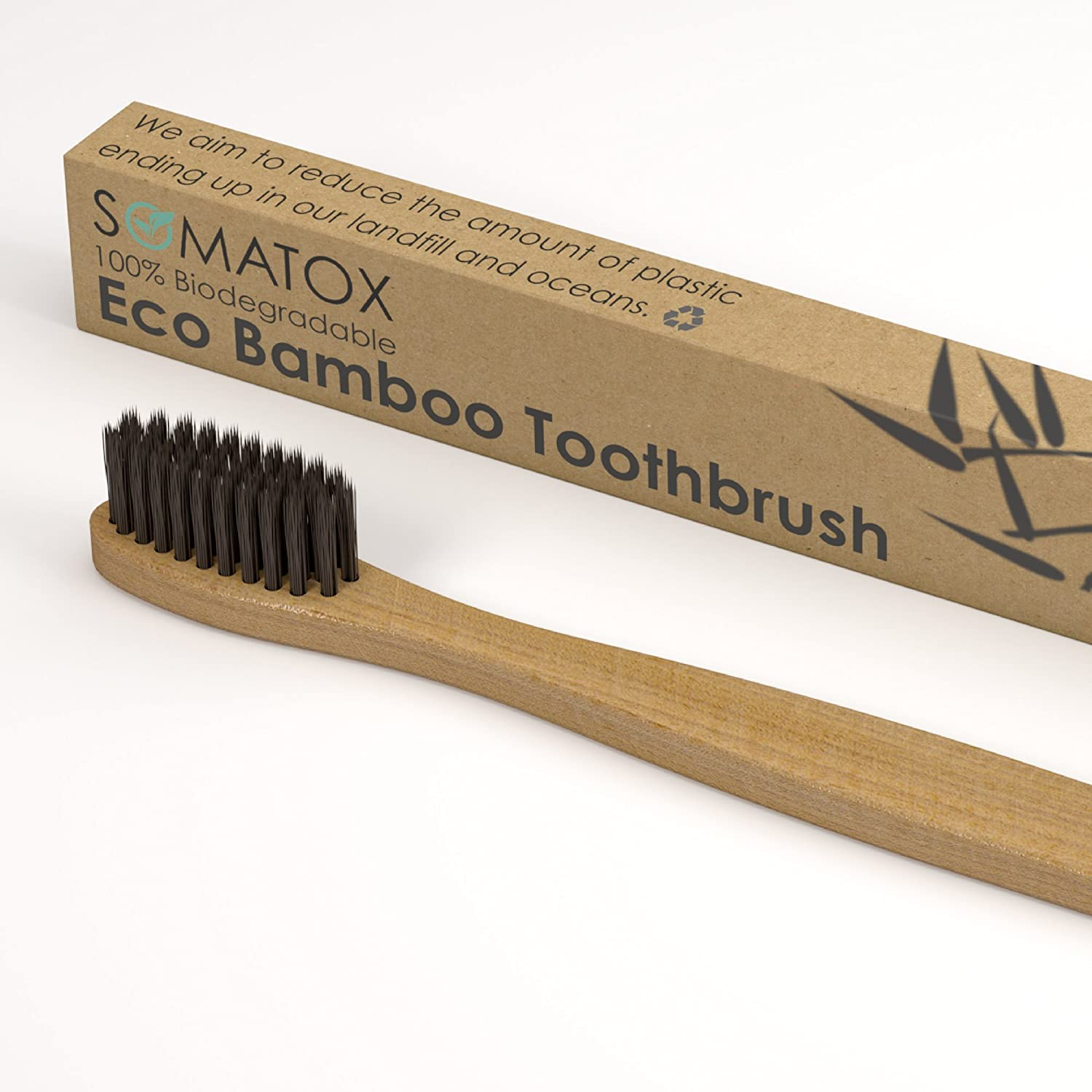 Amazon.com: SOMATOX - Bamboo Eco Toothbrush With Activated Charcoal Bristles - Natural Teeth Whitening • Medium Soft Biodegradable Bamboo Toothbrush ...