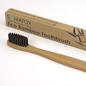 SOMATOX - Bamboo Eco Toothbrush With Activated Charcoal Bristles - Natural Teeth Whitening • Medium Soft