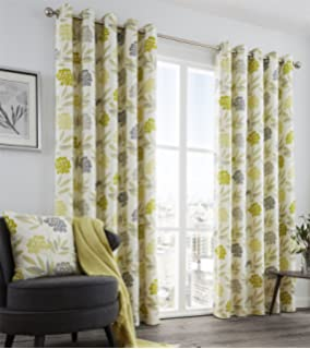 Keri Lined Eyelet Curtains 90 X Lime Green Yellow Charcoal Grey Geometric Modern