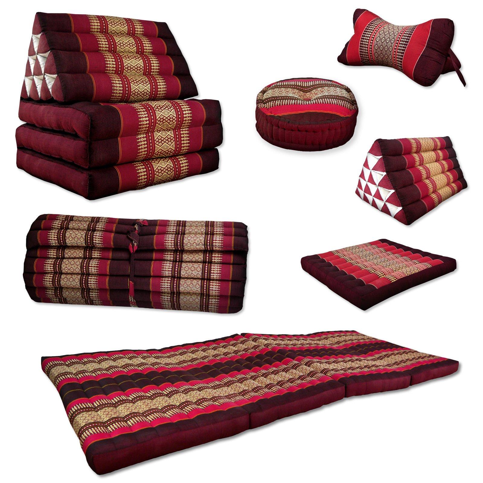 Asia Wohnstudio 3 Fold With Extra Large Triangle Cushion, 100% Natural Kapok Filling, Xxl Jumbo Thai Pillow, Headrest (Roll Up Mattress S) Cushion Roll S