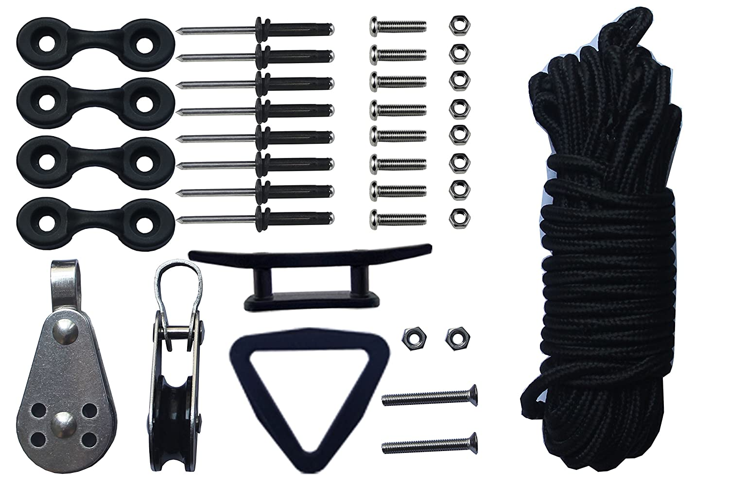 Rope Pulley Anchor : Kayak canoes anchor trolley kit system w pulleys pad eye cleats ring feet of
