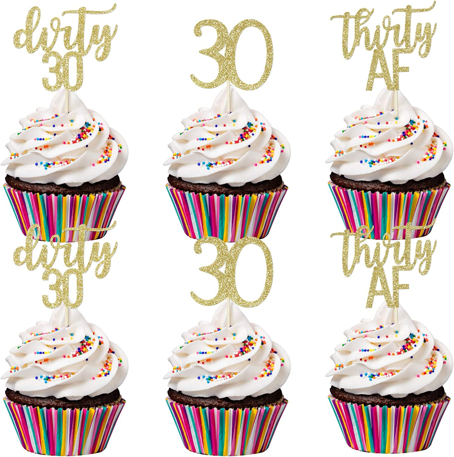 24Pcs Gold Glittery Thirty Af 30 Dirty 30 Cupcake Toppers- 30th Birthday Cupcake Toppers,Dirty 30 Cupcake Toppers,30th Anniversary Decor,Dirty Cupcake Toppers,30th Birthday Decorations