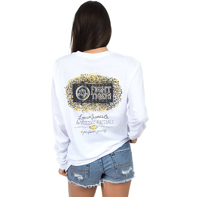 42955b5a52f Lauren James Mizzou Perfect Pairing Long Sleeve Tee in White Final Sale at  Amazon Women s Clothing store