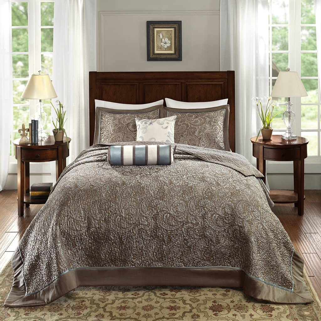 Madison Park Aubrey Bedspread Set, Oversize Queen, Blue