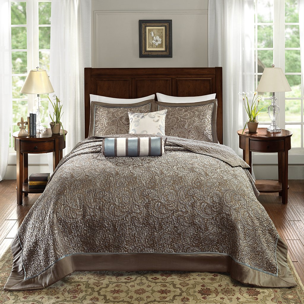 Madison Park Aubrey Bedding Set, Queen, Blue MP13-4338