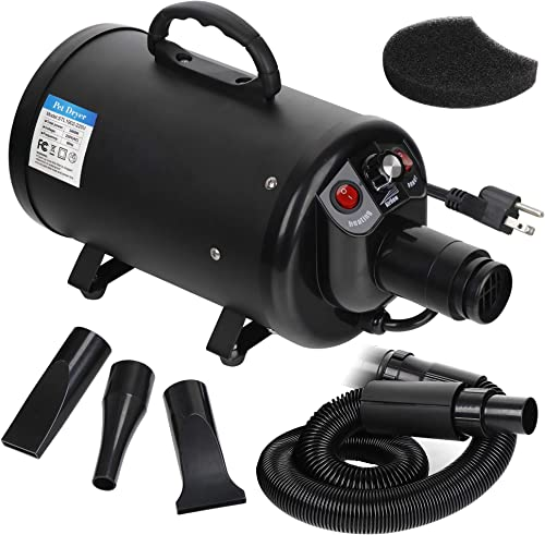 ZENY Dog and Cat Pet Grooming Hair Dryer 2 Speed Adjustable Heat Temperature Dog and Cat Pet Blower w/ 3 Nozzles and 1 Extra Filter