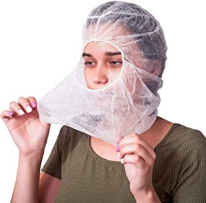 AMAZING Protective Hoods. Pack of 50 Disposable White Polypropylene 18 gsm Hooded Caps. Elastic Universal Size PPE Hair, Beard Covers for Industrial Use. Breathable, Unisex Head Protection. Open Face.