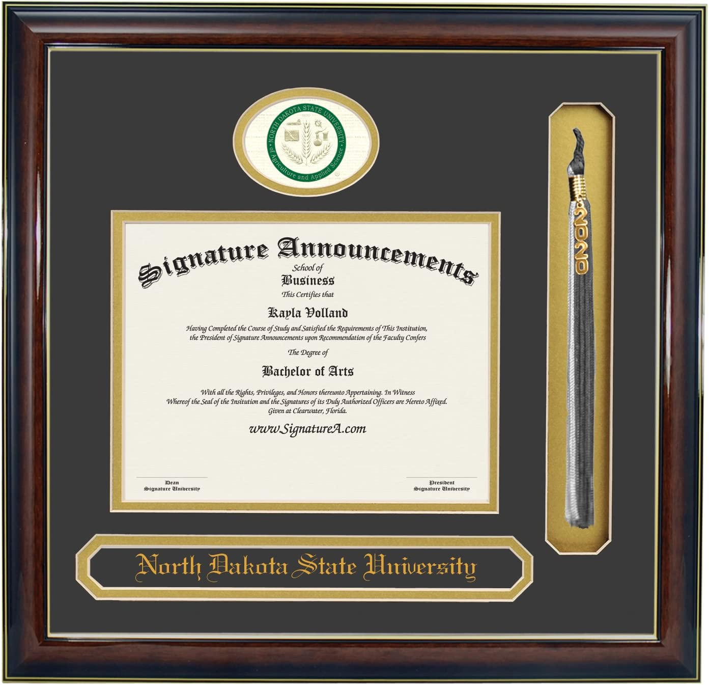 Name /& Tassel Graduation Diploma Frame 16 x 16 Gold Accent Gloss Mahogany Signature Announcements North-Dakota-State-University Undergraduate Professional//Doctor Sculpted Foil Seal