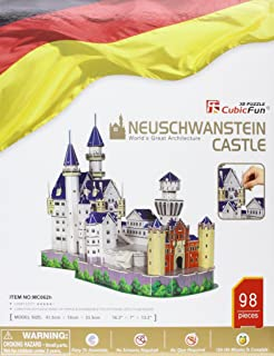 Neuschwanstein Castle with Book, 98 Piece 3D Jigsaw Puzzle Made by 3D-Puzzle Cubic Fun CFMC062H