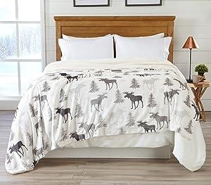 Home Fashion Designs Premium Reversible Sherpa and Fleece Velvet Plush Blanket. Fuzzy, Soft, Warm Berber Fleece Bed Blanket Brand. (King, Moose)