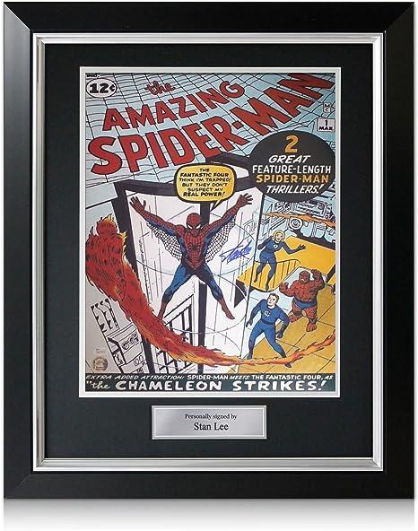 Stan Lee firmó el cartel del hombre araña. En marco negro de lujo con incrustaciones de plata: Amazon.es: Deportes y aire libre