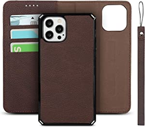 Lqlos Cell Phone Case for iPhone 12 /iPhone 12 Pro 6.1 inch 2020 Release, Card Holder Slot PU Leather Wallet Case, Magnetic Detachable Kickstand Shockproof Flip Back Cover for iPhone 12/12 Pro