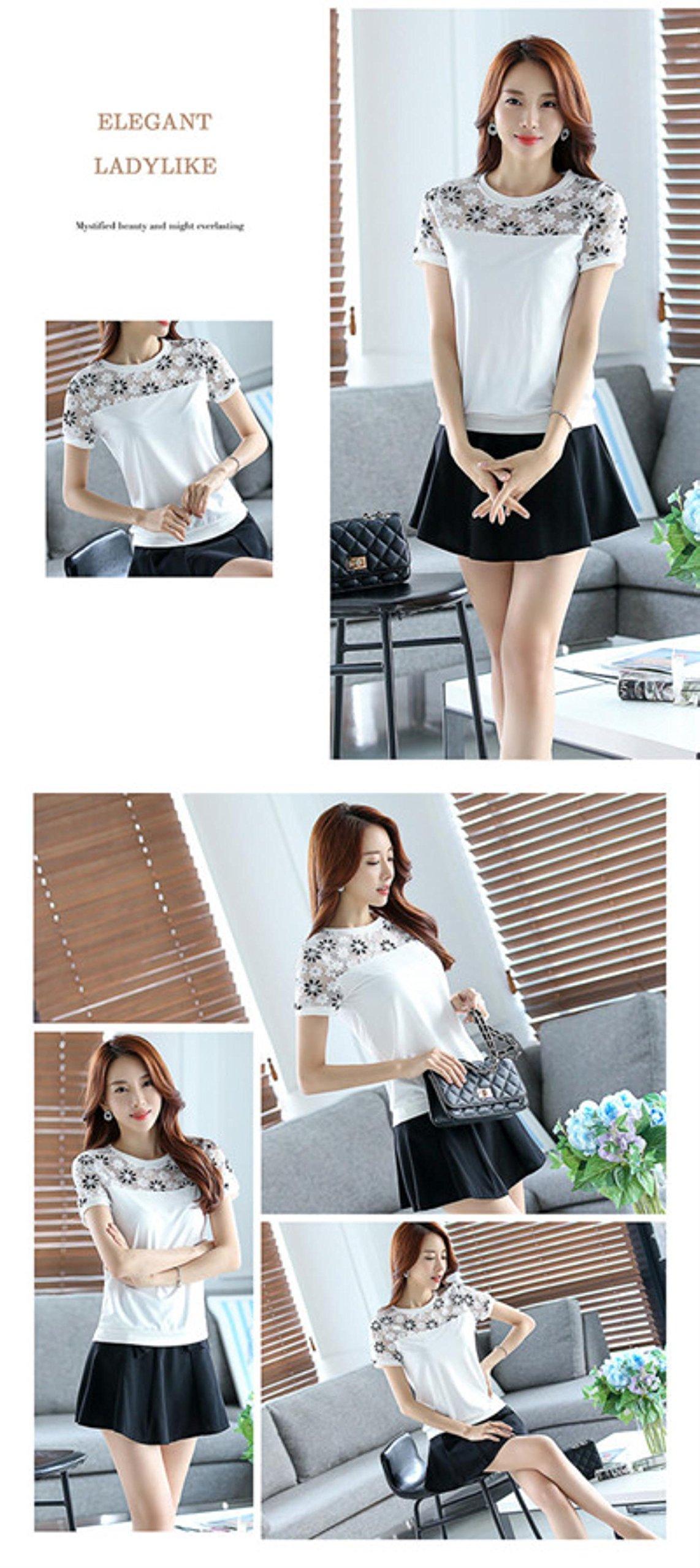 Neploe Lace Chiffon Blouse Shirt Women Blusas Femininas Summer Korean Casual Beading Tops Plus size Women Clothing