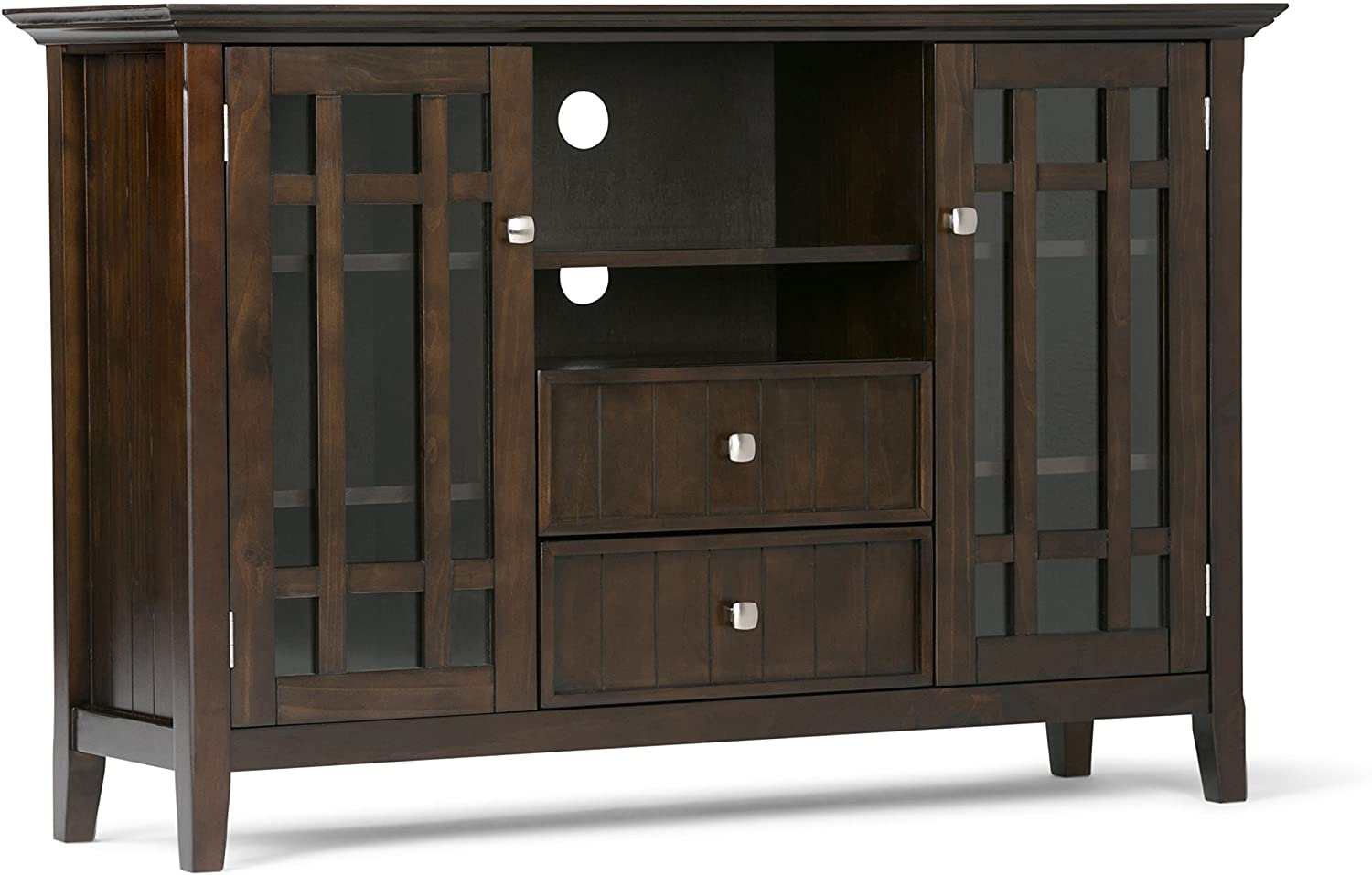 Simpli Home Bedford SOLID WOOD Universal Tall TV Media Stand, 53 inch Wide, Farmhouse Rustic, Storage Cabinet with Glass Doors, for Flat Screen TVs up to 60 inches, Dark Tobacco Brown