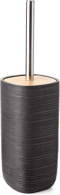 Fatto di Alta Qualit/à Polyresin Colore Dark Grey Graphite e Finitura Opaca TATAY Set Composito da Dosasapone Bambu Collection Bicchiere Portaspazzolini e Portasapone