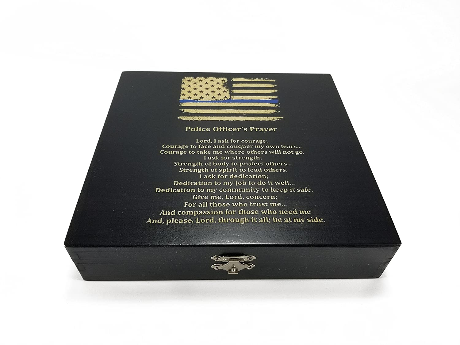 Police Officer Gift Black Keepsake Box - American Flag with Thin Blue Line and Police Officer's Prayer