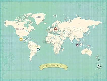 Amazon Com My Travels Personalized World Map 18x24 Inch Print Wall