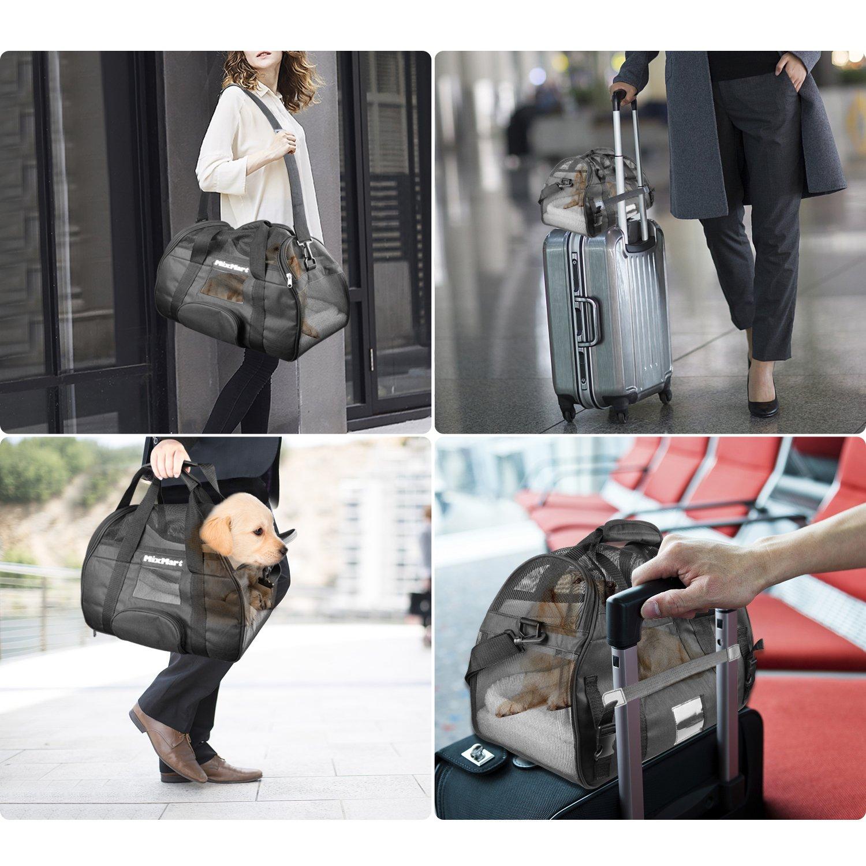 MixMart Bolsa de transporte transpirable de viaje con 2 colchones de peluche extraíbles para perro, gato, conejo y otros animales de compañía autorizada en ...