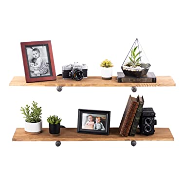 Rustic Industrial Pipe Decor Floating Shelving, 2 Pack Brown, Distressed Aged Wood and Iron Pipes Bracket, Wall Mounted Hanging Shelf, Reclaimed Barnwood Inspired