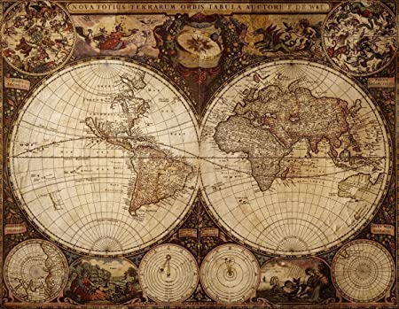 Authentic vintage world map poster amazon kitchen home authentic vintage world map poster gumiabroncs Images