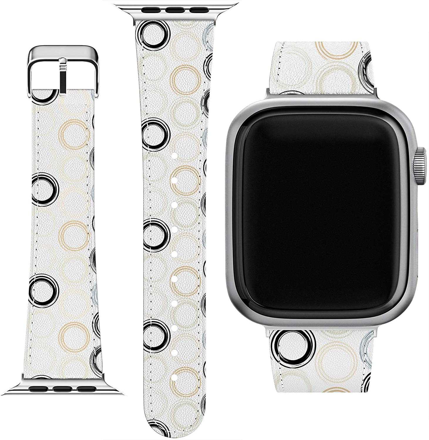 Cavka Wrist Band Replacement for Apple Watch Series 1/2/3/4/5/6/SE Elegant Arrow Replacement Strap 38-40-42-44 mm Geometric Pattern Slim fit Simple Circles PU Leather Design Printed Bracelet Awesome