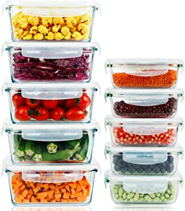 10 Pack Glass Meal Prep Containers with Lids Stackable Glass Food Storage Containers Airtight Lunch Container Lunch Box Bento Box, Microwave, Oven, Freezer and Dishwasher Safe