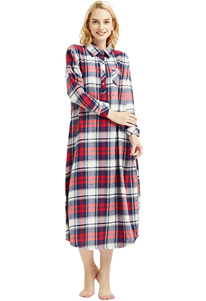 5ed910c271 Amoy madrola Women s Long Sleeve Plaid Flannel Nightgown Cotton Full Length  Sleepwear SY291-Blue