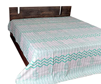 Bedding Queen Size Hand Block Printed Kantha Bed Cover Cotton Throw Blanket Quilt Gudri Quilts, Bedspreads & Coverlets