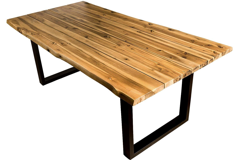 SAM Esszimmertisch 200x100 cm, Akazien-Holz geölt, Baum-Tisch, Poseidon, Outdoortisch massiv, Metallbeine Schwarz