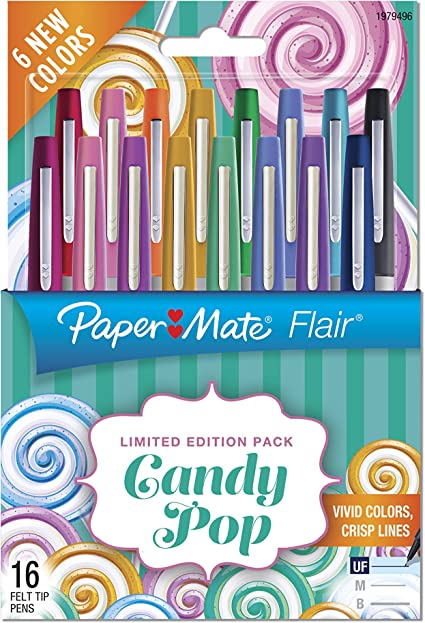 Paper Mate Flair Felt Tip Pens, Ultra Fine Point, Limited Edition Candy Pop Pack, 16 Count (1979496): Amazon.es: Oficina y papelería