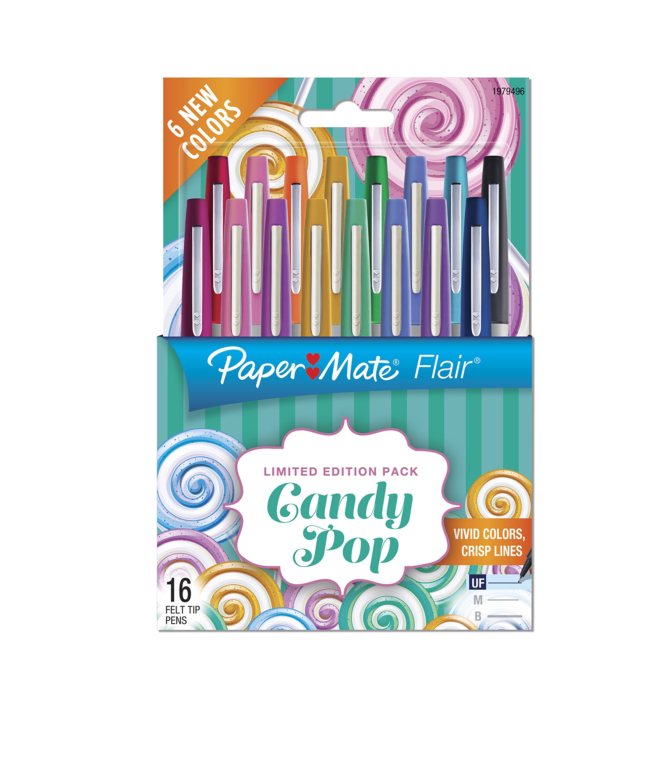 Paper Mate 1979496 Flair Felt Tip Pens, Ultra Fine Point (0.4mm), Limited Edition Candy Pop Pack, 16 Count (2027233) by PAPER MATE