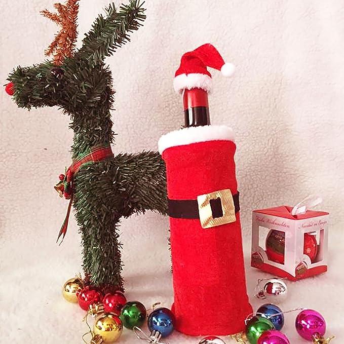 eizur Papá Noel botellas móvil Rojo Vino Botella cubierta bolsillos Papá Noel Ropa botellas de vino cubrir Juego de bolsa de regalo de Navidad de Navidad ...