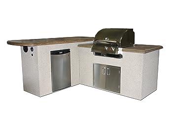 St. Anthony U0026quot;Lu0026quot; Shaped Outdoor Kitchen W/Mocha Supercast Top,
