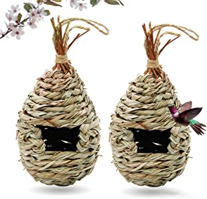 Gute Hummingbird House for Outside, Grass Hanging Wren Finch Song Birds House for Nesting, Hand Woven Hummingbird Nest for Outdoor Tree Decorations Gardening Gift, 2 Pack